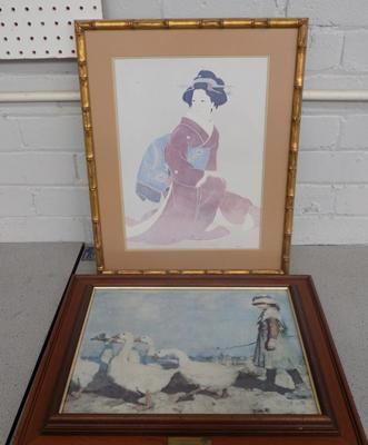 Two framed prints - Geisha girl + girl with geese, 'Pastures New'