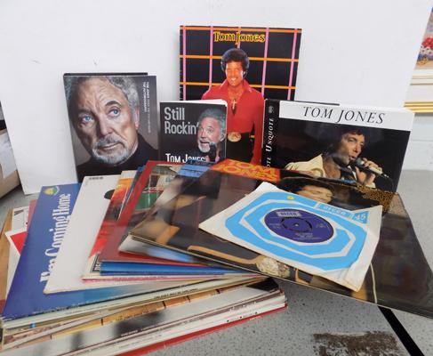 Collection of Tom Jones LP's, books and a single
