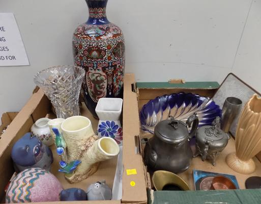 2 large boxes of mixed items incl. Masons, Aynsley and Wedgewood
