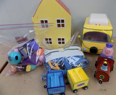 Peppa Pig house, train, camper van, furniture and 20 figures
