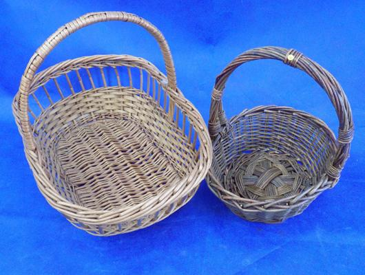 2 vintage wicker baskets