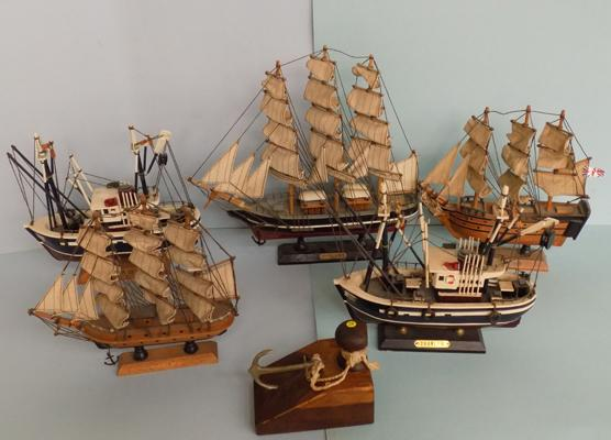 Selection of model ships and anchor