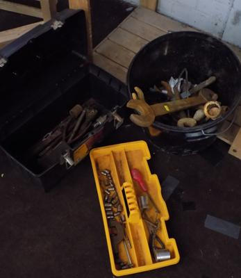 Tool box & black bucket of tools