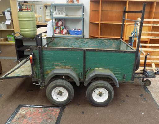 Double axle trailor-needs attention 1 ton SWL, drop tailgate, small winch, mini 4 stud wheels and tyres and 1 spare