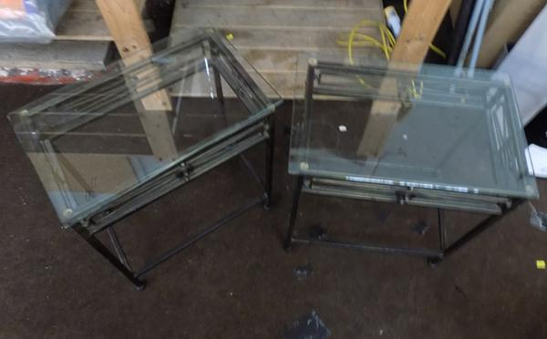 2x Metal & glass side tables