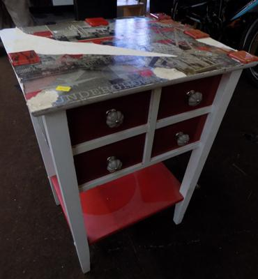 Red & white 4 drawer bedside cabinet