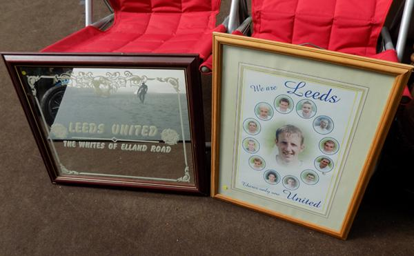 Vintage Leed's United mirror & Leeds Utd. picture