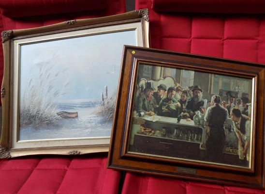 Vintage print (H. Marshall) + oil on canvas painting by R. Sandle