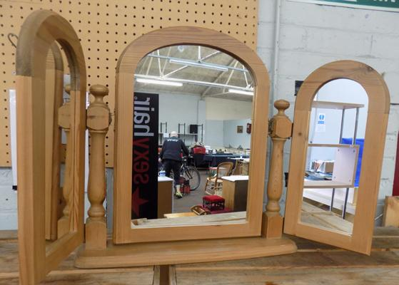 Solid pine triple dressing table mirror