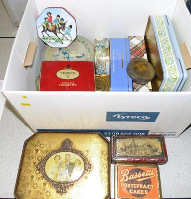 Box of tins, some vintage