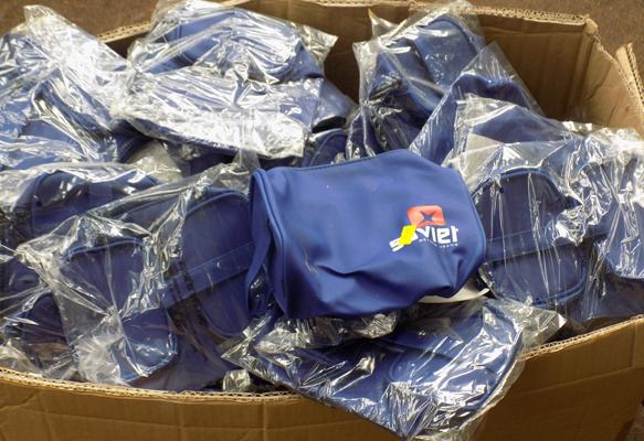 Big box of blue bags new packed