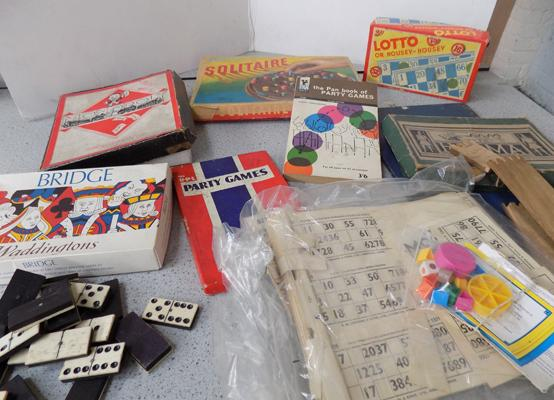 Box of vintage board games