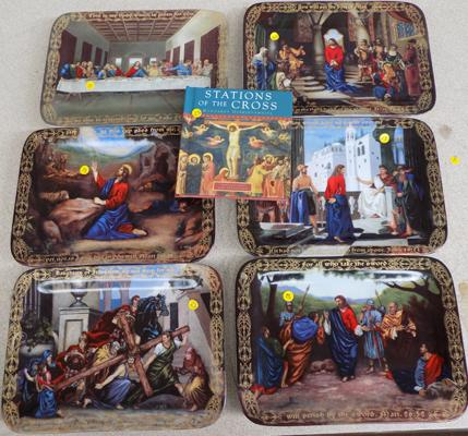 Collection of religious collectors plates by Christopher Nick, first to sixth editions, 'The Light of the Word' + book