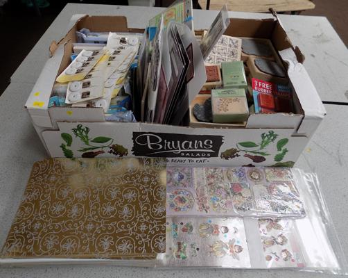 Box of craft items inc rubber stamps