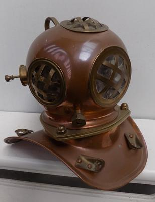 Copper & brass diver's miniature helmet