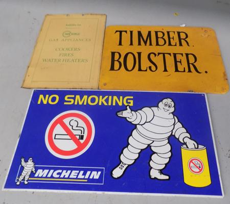 Vintage signs, incl. Michelin
