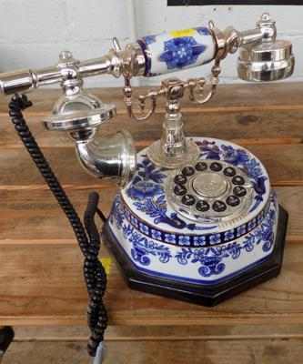 Blue & white ceramic house phone