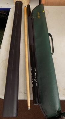Two Riley snooker cues in cases