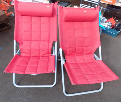 Two folding garden chairs