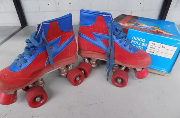 Disco roller skates, vintage with box