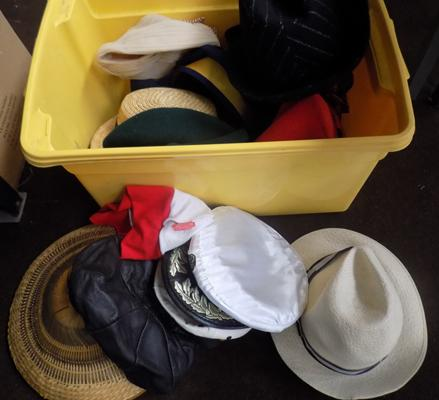 Box of fancy dress hats & others