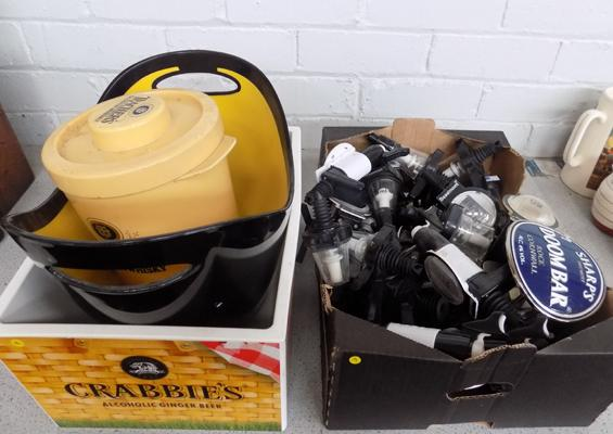 Box of optics & 3x vintage ice buckets