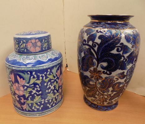 "Large Chinese vase 12"" and Chinese lidded pot 10"""