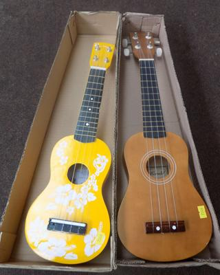 Two ukelelus (Blue Moon & Herald)