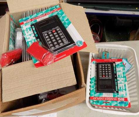 Joblot of pocket torches, calculators & pencil sharpeners