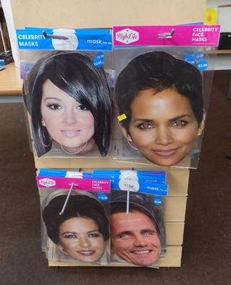 Celebrity face masks and stand