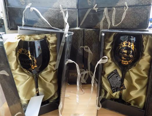 7 boxed black hand blown 'Happy Birthday' wine glasses