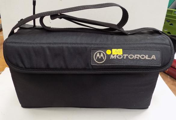Vntage Motorola phone with accessories in bag