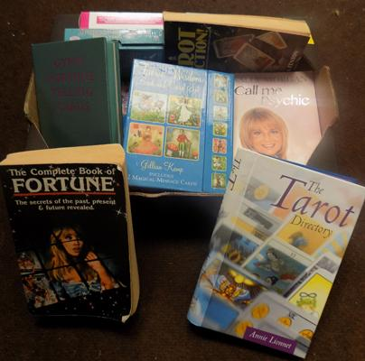 Box of Tarot cards, books etc...