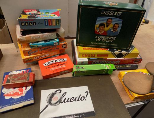 Box of vintage toys and games