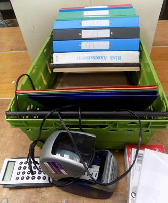 Box of stationary items and files