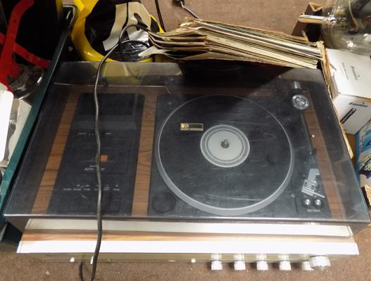 PYE record player with records