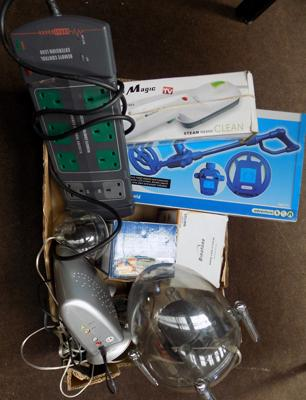 Box of electrics, incl. metal detector