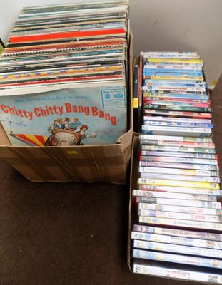 Box of records & mostly children's DVDs