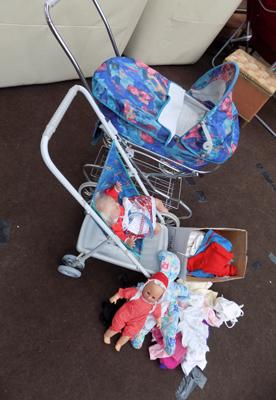 Collection of vintage dolls & prams