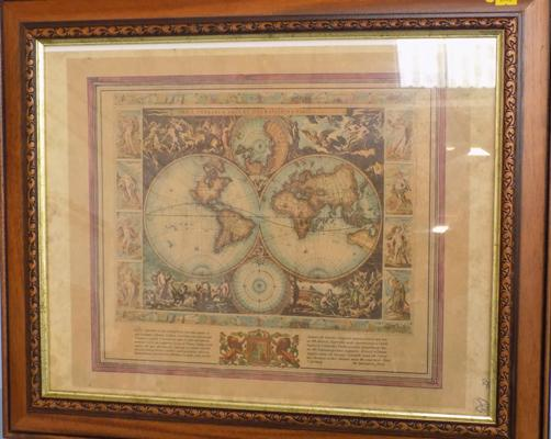 "Old framed map, approx. 25"" x 21"""