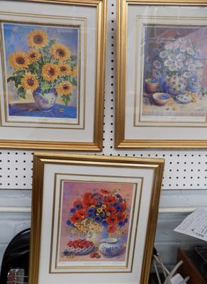 "Three Tricia Hardwick signed prints, Ltd. Edition sunflowers, daisies & poppies. 17.5"" x 15"""