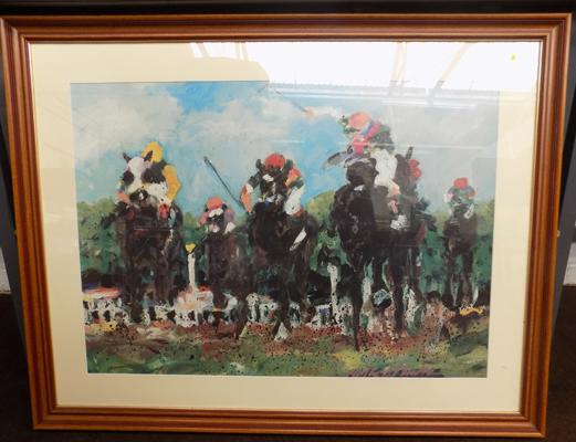 "Abstract horse racing picture 43"" x 34"""