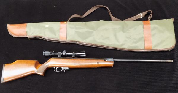 HW 90 177 air rifle and scope & case