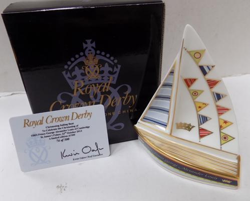 Royal Crown Derby Prince George sailing boat ltd edition 74/500 (these don't come with stoppers)