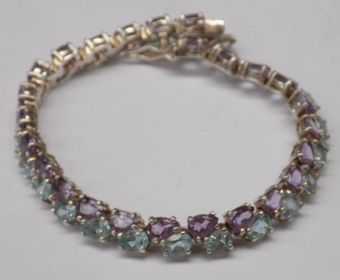 Silver bracelet with blue topaz & amethyst gemstones