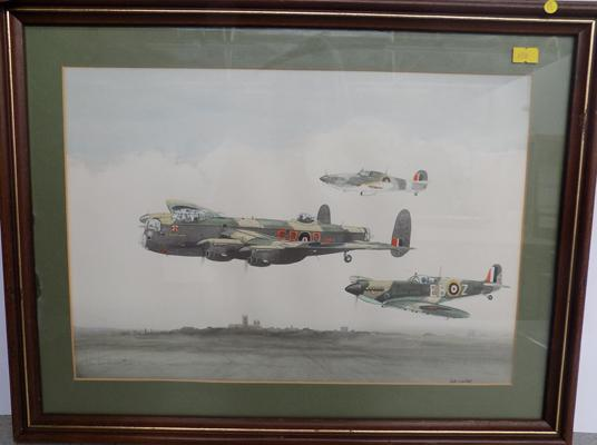 "World War II planes, watercolour signed by John Larder - 20"" x 15 1/2"""