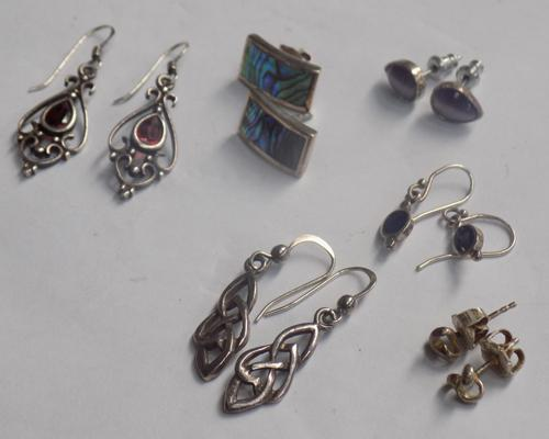 6 pairs of silver earrings