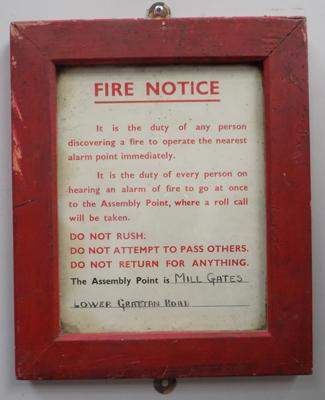 "Fire notice plaque - 12"" x 10"""