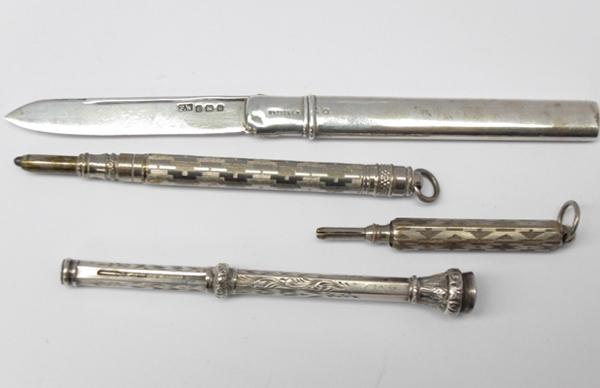 Collection of silver propelling pencils & solid silver travelling knife, Birmingham Hallmark