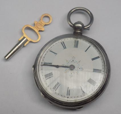 Fine silver pocket watch with key and box